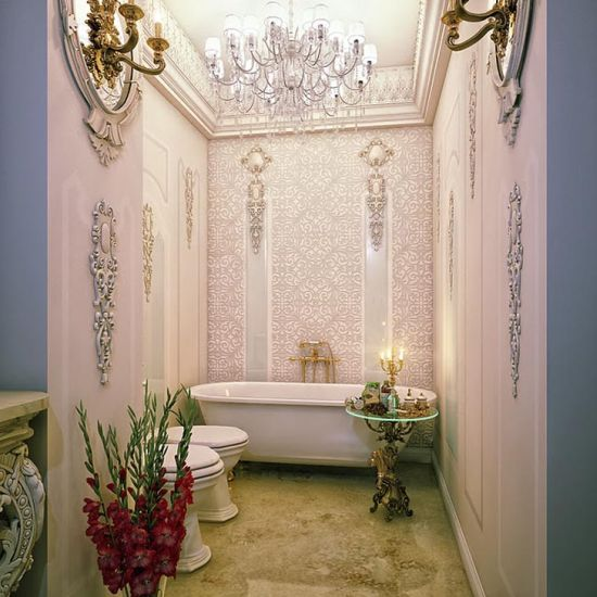 Picture Gallery Website Astonishing romantic bathroom design with ornate wall decoration gorgeoustubs
