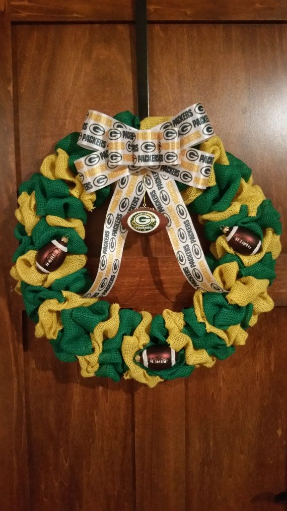 Check out this item in my Etsy shop https://www.etsy.com/listing/264280483/green-bay-packer-wreath