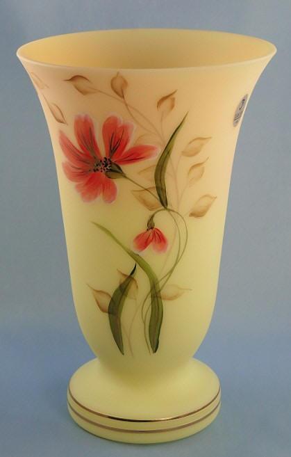 """""""Garden Shadows"""" Vase  in Fenton Burmese Glass"""