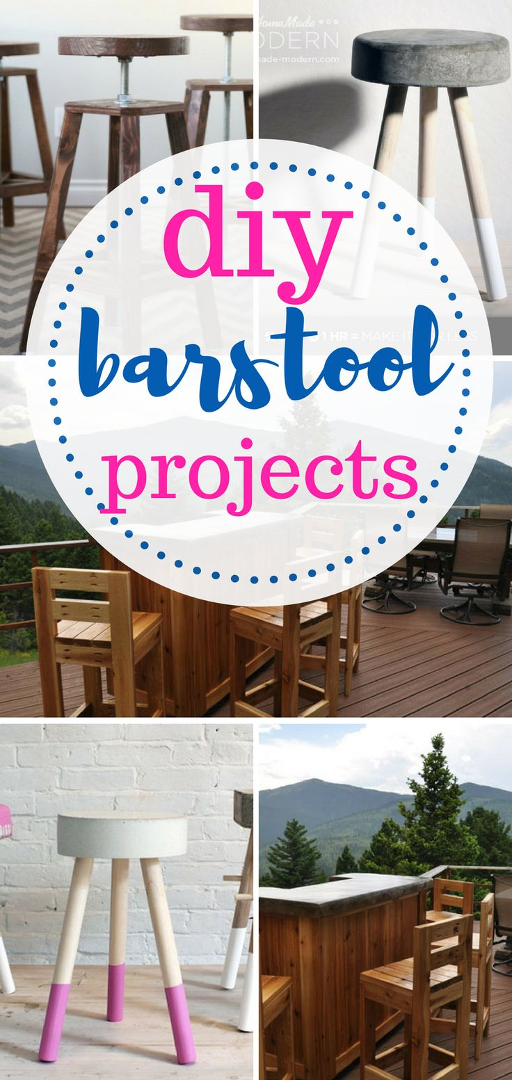Learn how to make your own barstools!   DIY Home, DIY Home Decor, Barstool Projects, Easy Barstool Projects, Quick Home Projects, Projects for the Home