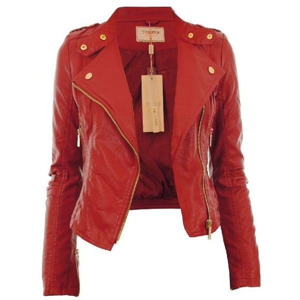 Diana New Womens Faux Leather Biker Gold Button Zip Crop Ladies Jacket Coat found on Polyvore