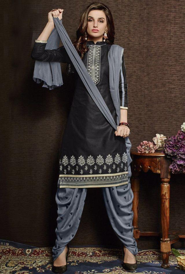 Black and grey designer suit with dupatta