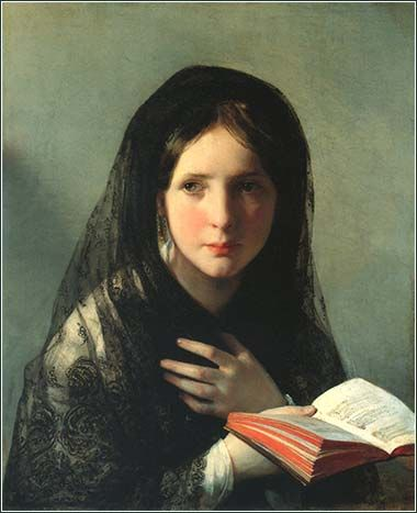 Woman Reading a Bible by John Singer Sargent, ca. 1880.