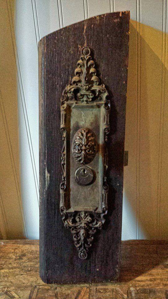 Antique Brass Door Handle Escutcheon Plate Set by ElisabethMacBeth