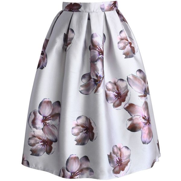 Chicwish Peach Blossom Midi Skirt in Silver (310 GTQ) ❤ liked on Polyvore featuring skirts, bottoms, white, silver skirt, midi skirt, white skirt, flower skirt and silver midi skirt