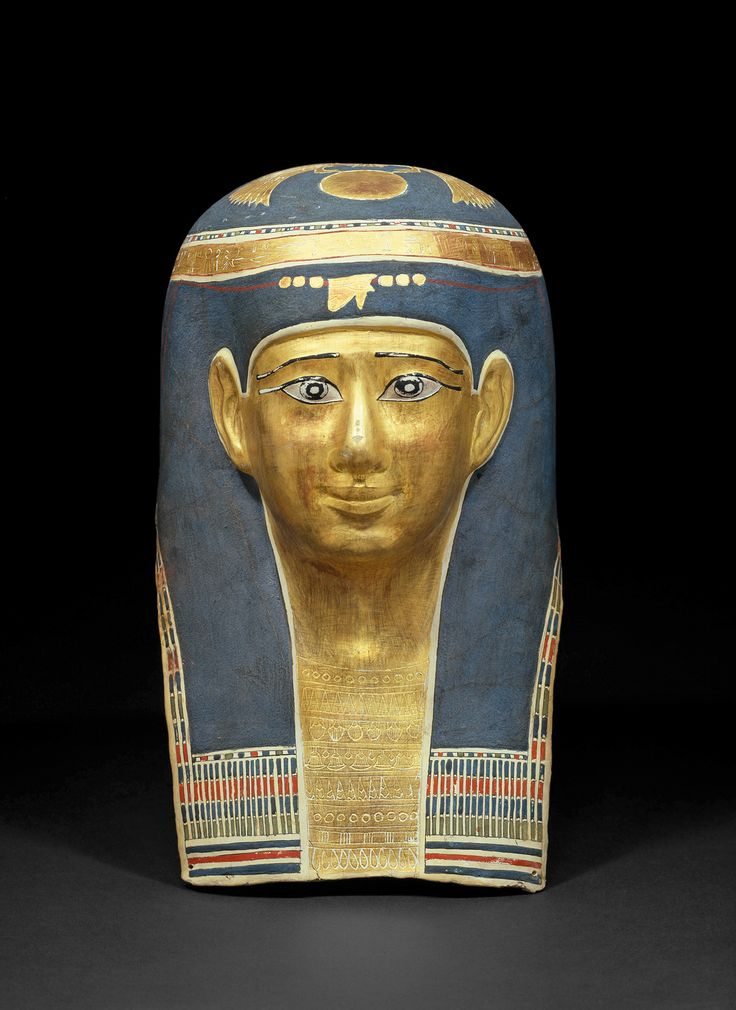 Ta-Scherit-en-Hor mummy mask , cardboard, primed, painted and partially gilded, Ptolemy time, 323-30 v. , © Egyptian Museum and Papyrus Collection, State Museums of Berlin, Margarete Büsing
