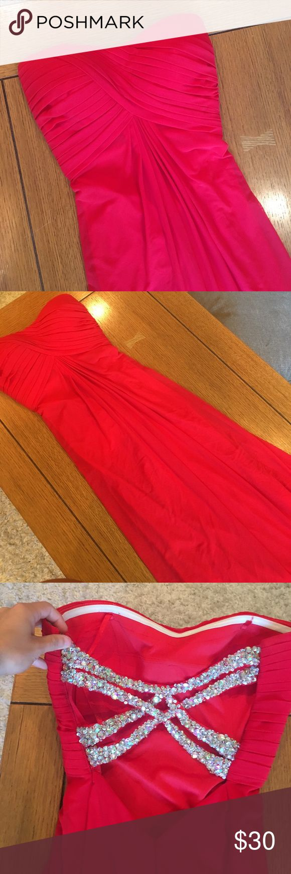 La femme size 2 prom dress Red with beaded back. Dirt on the bottom from stepping on it. Was altered La Femme Dresses Prom