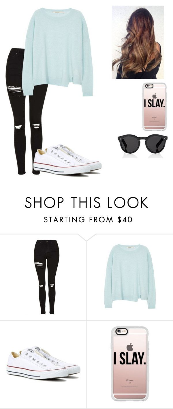 """""""Outfit"""" by makayla-simpson on Polyvore featuring Topshop, J Brand, Converse, Casetify and Illesteva"""