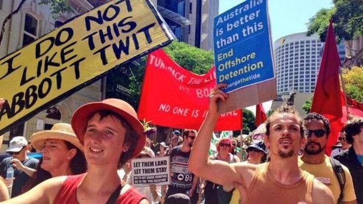 March in March participants assemble in Brisbane.