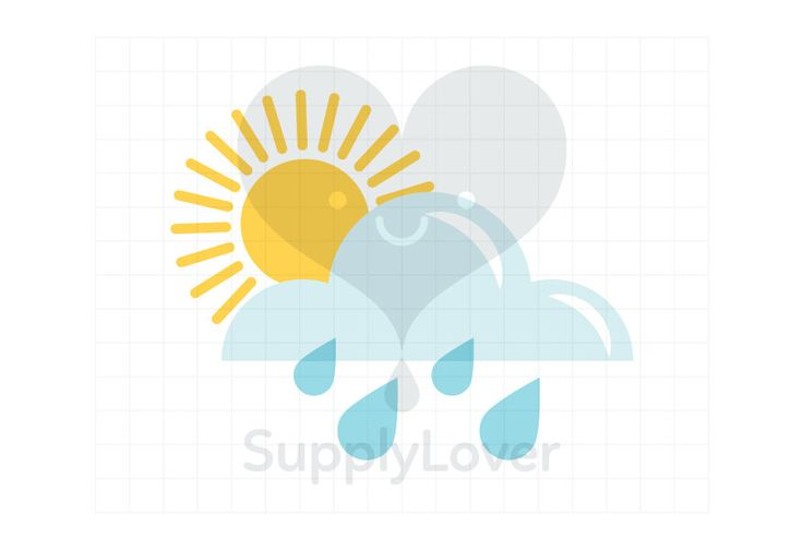 SUNNY WITH RAIN Clip-Art Commercial Use, Weather, Sun, Sunshine, Rain, Cloud, Partially Cloudy, Weather Forecast, Yellow, Blue - A0068