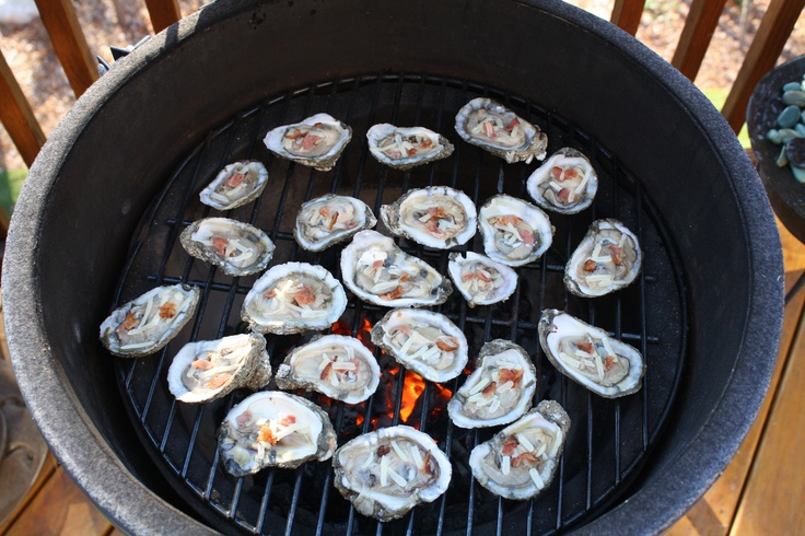 Oysters on the Big Green Egg with bacon and gruyere cheese. So yummy!