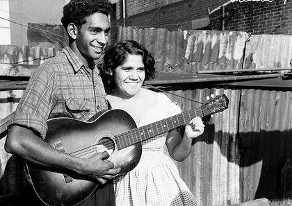 The wonderful indigenous Australian singer Jimmy Little (pictured with singer Marge Peters in a Redfern backyard in 1957) - passed away April 2nd, greatly beloved.