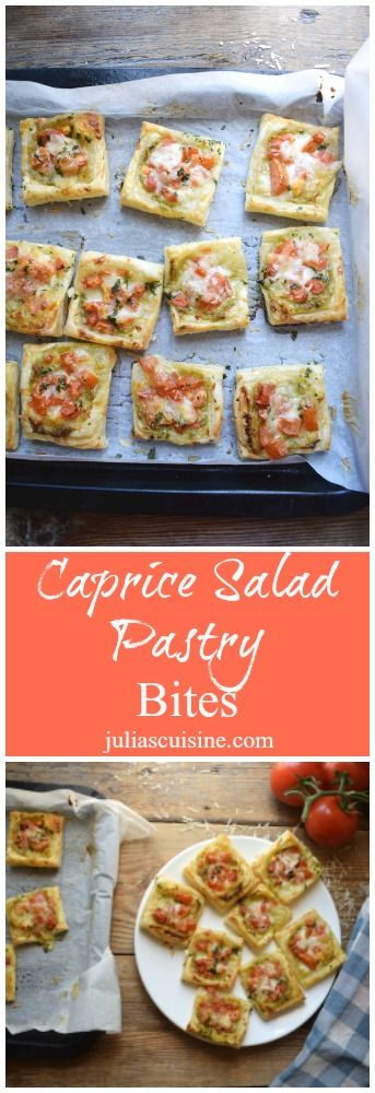 Somewhere between a pizza and a pastry you will find these delicious little bites of Caprice Pastry Bites!  http://www.juliascuisine.com/home/caprice-pastry-bites