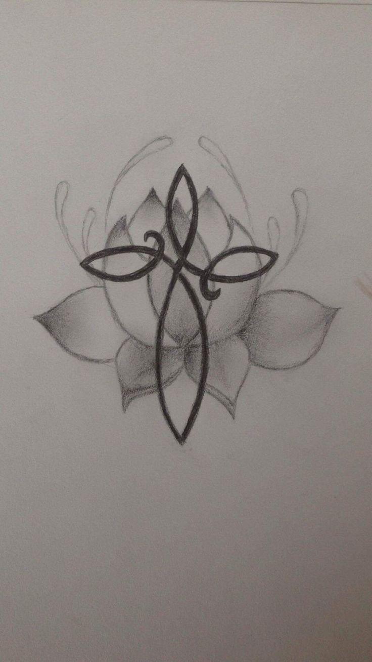Infinity cross on lotus flower - tattoo design for mom
