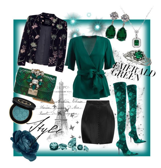 """Untitled #113"" by ivana-tomaskova on Polyvore featuring Balenciaga, Balmain, WtR, Gucci and emeraldgreen"