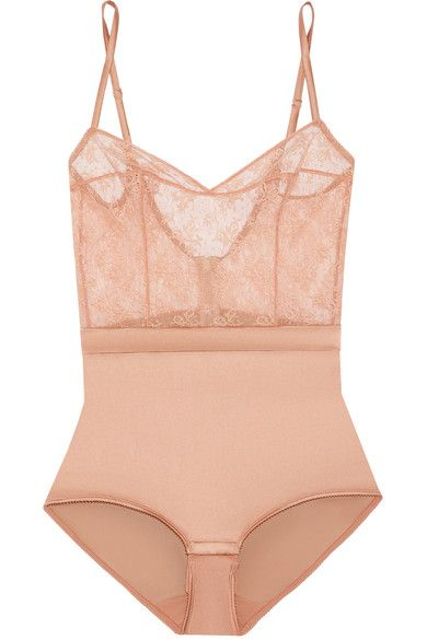 Eres - Charivari Stretch-lace And Silk-blend Satin Bodysuit - Antique rose - FR38
