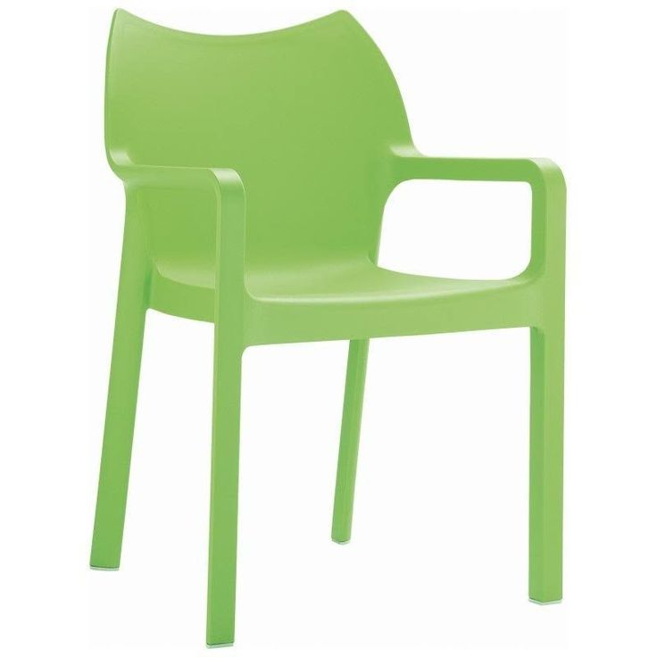 Diva Resin Outdoor Dining Arm Chair Tropical Green (Set of 4)