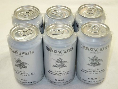 Anheuser Busch BUDWEISER WATER 6 CANS Hurricane Katrina - These we're passed out to us while we waited in line for emergency food stamps in Houma, Louisiana.