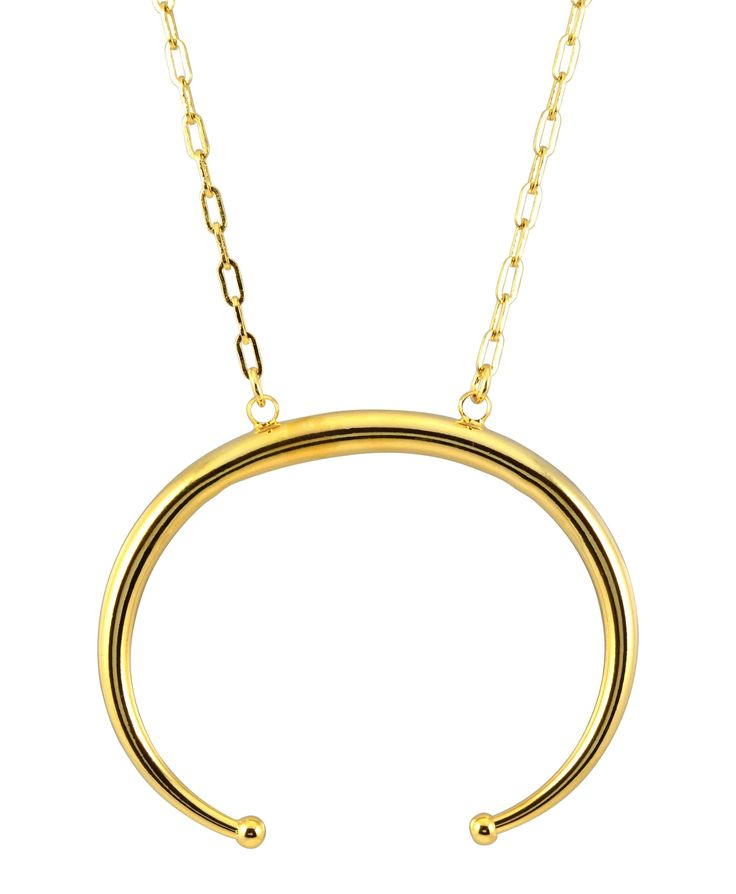 """Zenzii Bull Nose Ring Horns Statement Necklace, Goldtone, 32+3"""""""