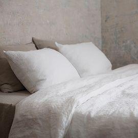Set di biancheria da letto in lino bianco panna Stone Washed