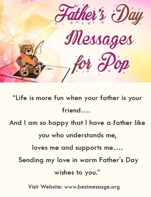Best collection of Happy fathers day text messages and lovely wishes. Express your love to pop with warm wishes weaved in cute words for your papa.