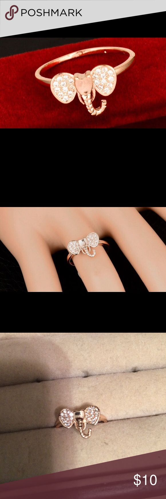 14k Rose Gold Plated Zircon Elephant Ring Size 6 NWOT 3rd and 4th pics are of actual ring in my jewelry box Jewelry Rings