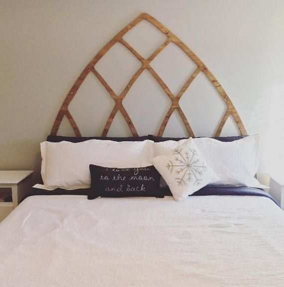 Twin Large Pointed Arch Window Frame Headboard Wood Cut Out Magnolia