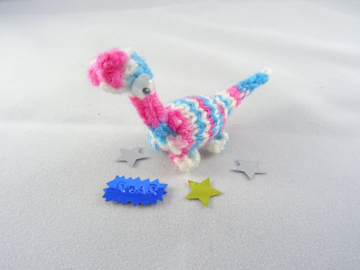 Dinosaur Bubbles Miniature Multicoloured Pink Blue White Knitted For her Gift OOAK Kawaii Collectibles Christmas Adult Stocking Filler by Suzzlescraft on Etsy