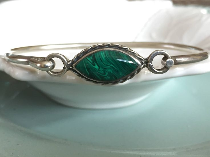 Vintage Sterling Silver Malachite Bracelet Hand Made Bangle Bracelet Made in Mexico Signed & Stamped Green Stone 925 Sterling Excellent cond by Samanthasunshineshop on Etsy