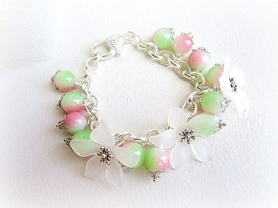 Flowers beaded charm bracelet silver plated by MalinaCapricciosa, $20.00