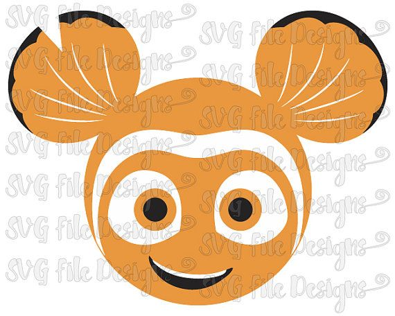 Finding Nemo Mickey Mouse Ears Disney Layered Cutting File in Svg, Eps, Dxf, Png Jpeg for Cricut & Silhouette
