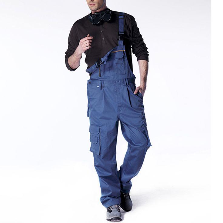 Men bib overall work coveralls fashion vintage locomotive repairman strap jumpsuit pants work uniform summer sleeveless overalls