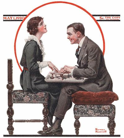 Part of an old magazine cover - couple using the ouija board.  What fun.