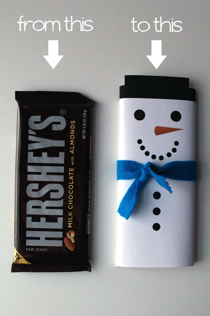 Jazzing up a plain candy bar for Christmastime with a snowman wrapper // Via The Thrifty Ginger with a printable