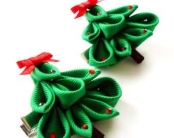 Kanzashi hair clip. Set of 2 hair clips. Pink Kanzashi by JuLVa