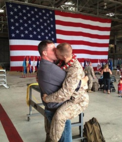 Gay Marine returning home greets mate. Awesome!