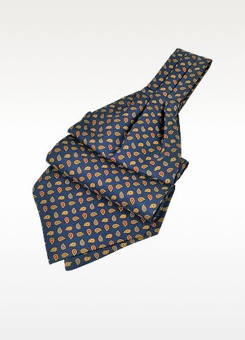 €49.00 | Make a statement at your next formal event with the sleek elegance of the Forzieri mini paisley ascot. Realized in 100% silk, it is the perfect complement to your favorite suit. Signature envelope included. Made in Italy.