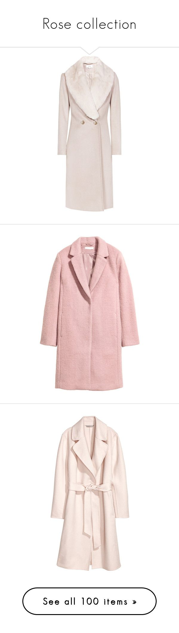 """""""Rose collection"""" by egorova-tatiana on Polyvore featuring outerwear, coats, reiss, faux fur trim coats, pink coat, rose pink coat, fur-lined coats, h&m coats, wool blend coat and home"""
