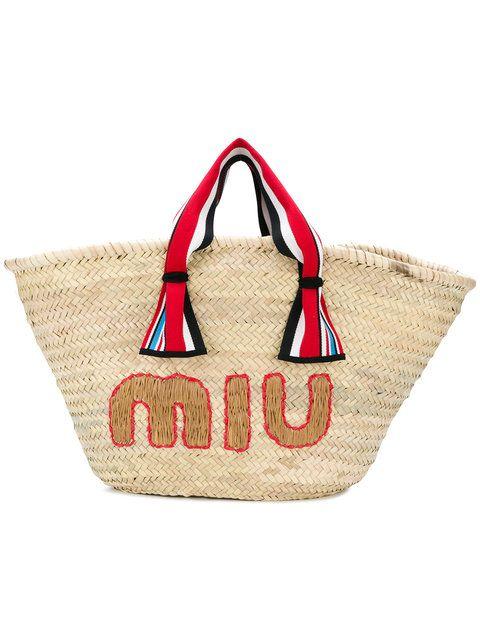MIU MIU woven beach bag. #miumiu #bags #travel bags #beach #canvas #polyester #