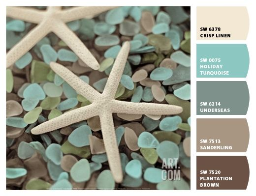 Create an aquatic color palette, complete with Underseas (SW 6214), a blue paint color from Sherwin-Williams.
