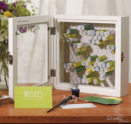 Country Charm Wooden Wish Box. Use colorful paper to make well wishes pop! #TheWeddingOutlet.com