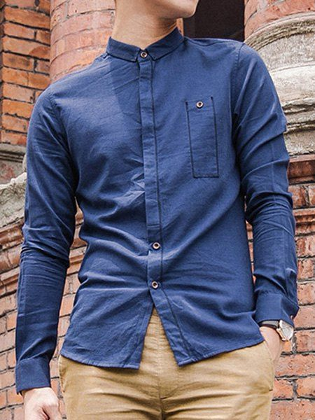 Button Design Sutures Embroidered Slimming Shirt Collar Long Sleeve Modish Cotton Blend Shirt For Men