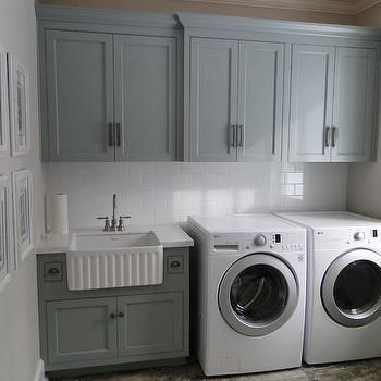 Beautiful cabinets! Gray Green Cabinets, Transitional, laundry room, Benjamin Moore Piedmont Gray, Cranberry Hill Kitchens
