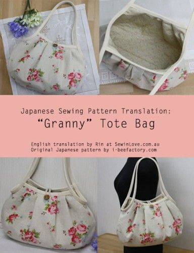 Granny Bag – Free Sewing Translation and PDF Pattern + How To Bind and Corner A Raw Edge Using Bias Tape