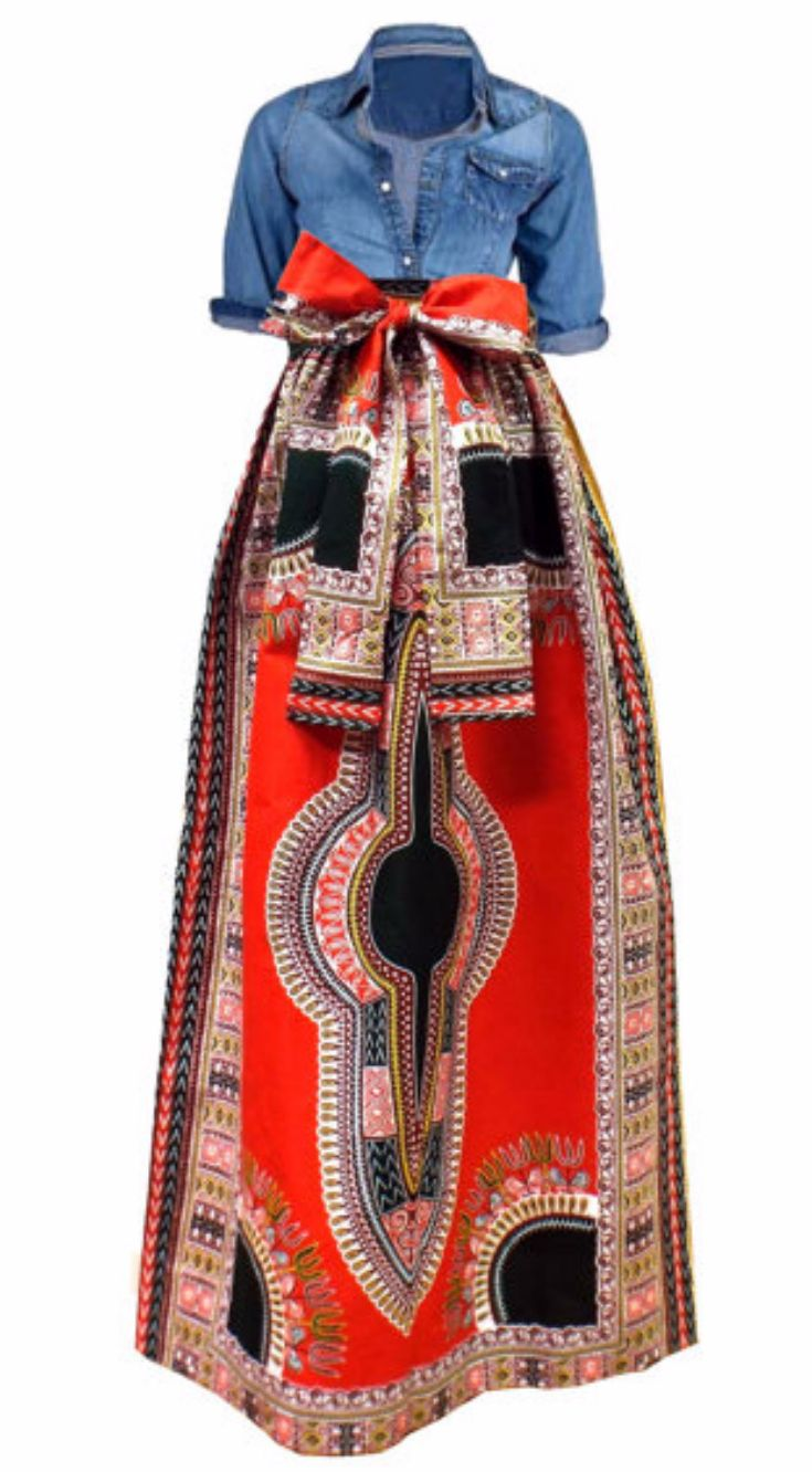 Chic Dashiki African Print Ankara High-Waist Dashiki Skirt with Pockets (Red/White). This Chic high waist maxi skirt is one of my bestsellers because it's a bold statement skirt that will make you feel like the queen that you are. It's versatile and can be worn both formally and informally with or without the sash.