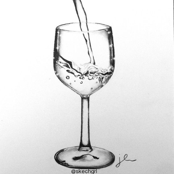 Drawing sketch doodle illustration of a wine glass with for How to draw on wine glasses