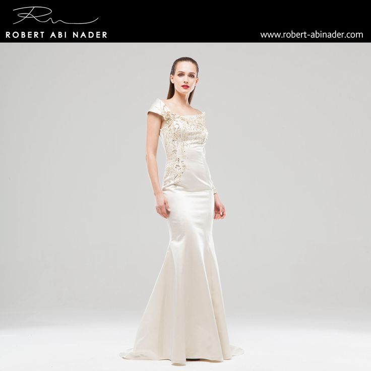 Robert Abi Nader - Ready to Wear - Spring Summer 2015 Long and fitted mermaid dress in off-white iridescent duchess satin and gold embroidery. #robertabinader #white #duchess #satin #gold #embroidery #fashion #long #mermaid #moroccan #crep #embroidered #skin #tulle #fashionista #stylish #springsummer #lebanon #paris #london #beirut #princess #beauty #beautiful