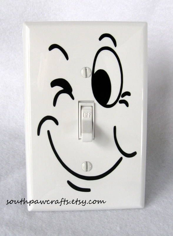 Funny Face Light Switch Plate Cover. $7.00, via Etsy.