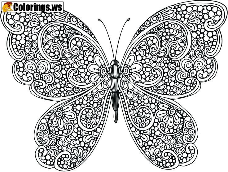 Hard Butterfly Mandala Coloring Page Butterfly Coloring Pages