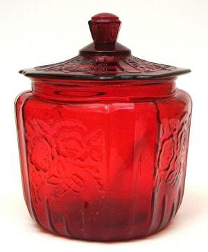 Depression Glass cookie jar by lidia